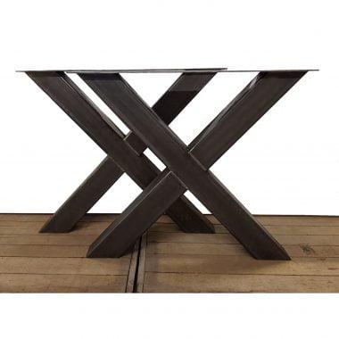 Tafelpoot / tafelpoten staal transparant gepoedercoat X-poot 10x10 cm