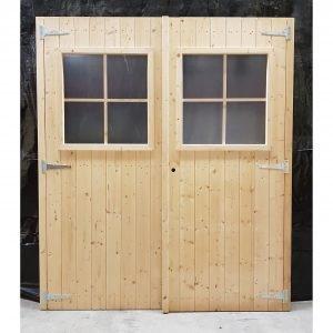 Dubbele deur glas 154x177 cm tuinhuis deur tuindeur schuurdeur blokhutdeur