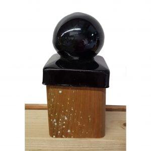 Paalornament Metaal Bol zwart 7x7 cm (2 stuks)