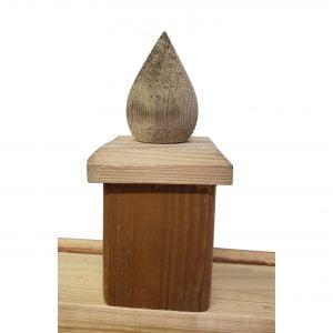 Paalornament Hout Peer 7x7 cm (2 stuks)