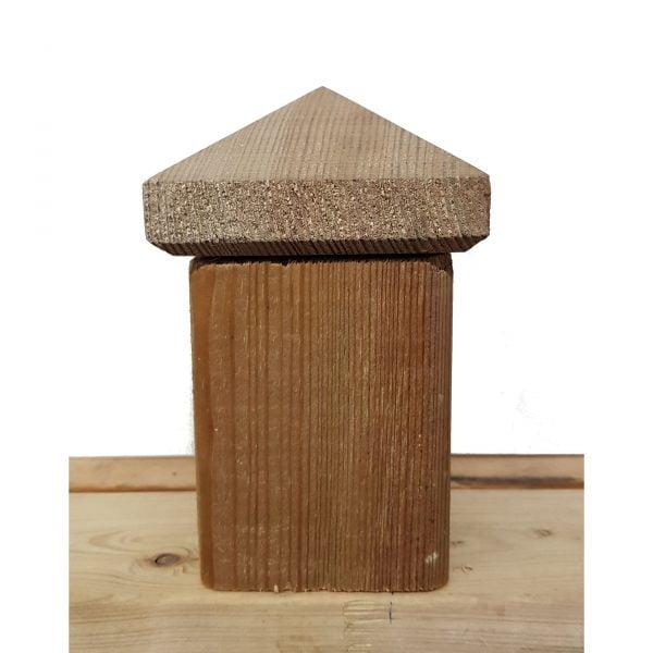 Paalornament Hout Piramide 7x7 cm (2 stuks)