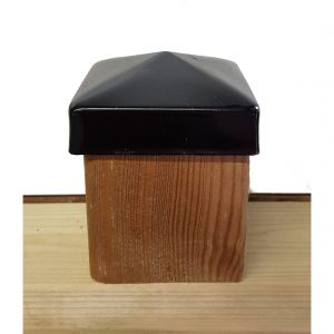 Paalornament Metaal Piramide zwart 7x7 cm (2 stuks)