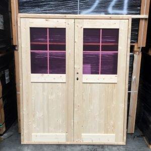 Dubbele deur glas 150x180 cm tuinhuis deur tuindeur schuurdeur blokhutdeur