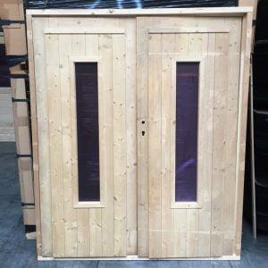 Dubbele deur glas tuinhuisdeur / blokhutdeur