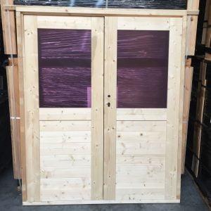Goedkope Dubbele deur glas tuinhuisdeur / blokhutdeur