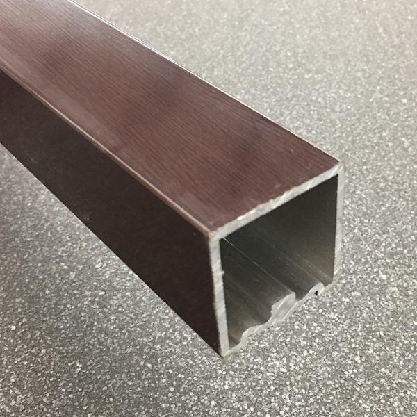 Trapleuning vierkant 40x40 mm aluminium Wengé