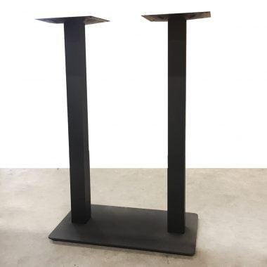 Barpoot/Tafelpoot dubbel zwart gepoedercoat 8x8 cm