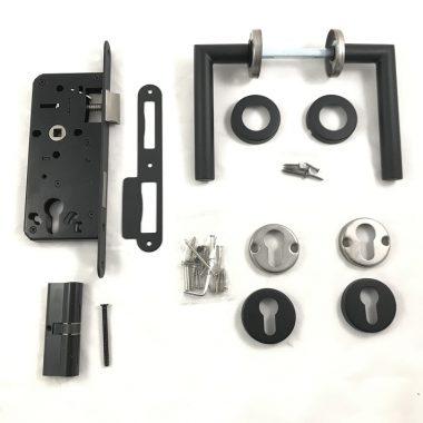 Set voor tuindeuren RVS PC72 rozet zwart 72x165 mm