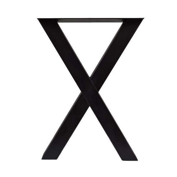 Tafelpoot / tafelpoten (bar tafelpoot) staal zwart gepoedercoat X poot 10x10 cm