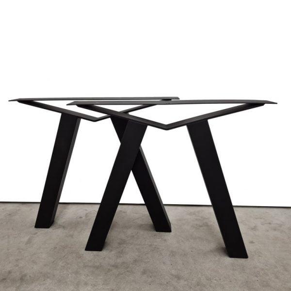 Tafelpoot / tafelpoten staal zwart gepoedercoat Brugpoot 8x8 cm