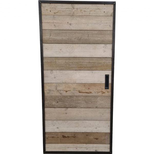 Loftdeur gebruikt steigerhout met metalen profielen 100x210 cm SD015