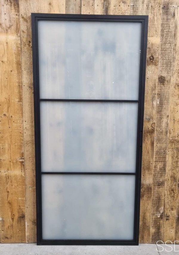 Loftdeur staal 3 vaks melk glas 100x215 cm